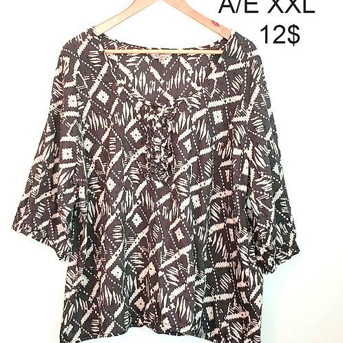 blouse American Eagle xxl grise et blanche