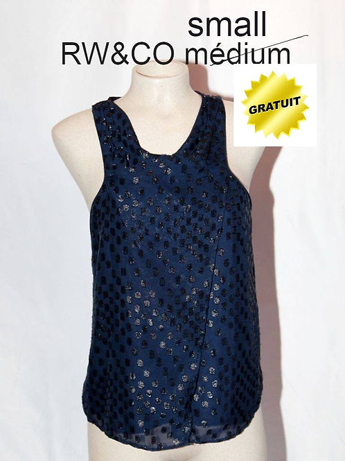 top blouse bleu à pois small RW&CO