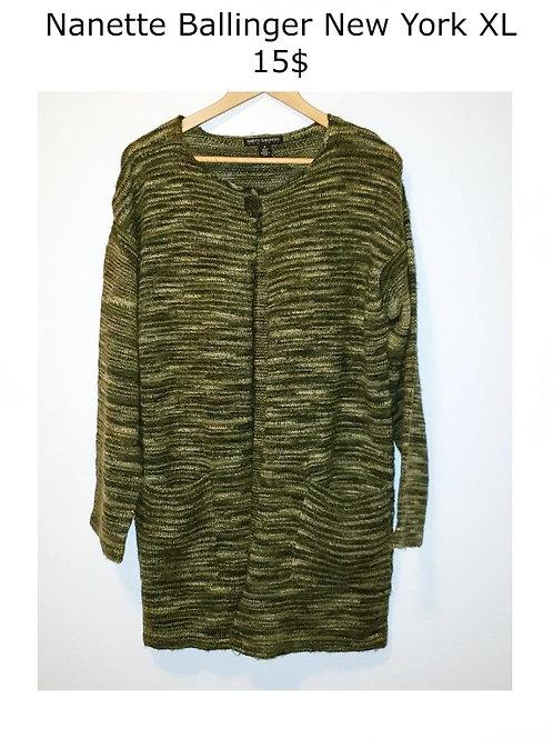 veste longue lainage vert XL