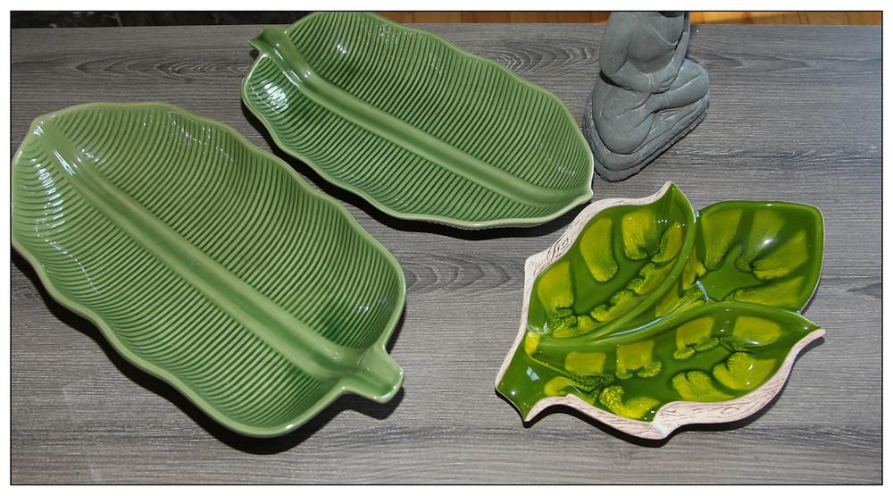 plats décoratifs au style botanique  disponibles à la boutique Les Rescapés