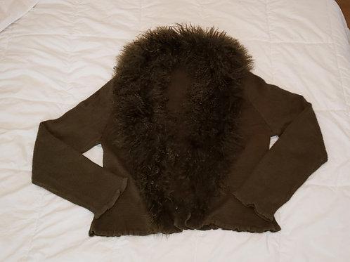 veste verte XL Simon Chang collet détachable laine