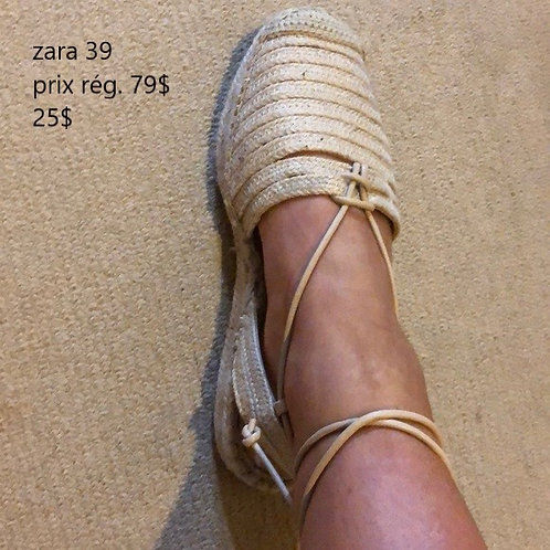 sandales zara 39 9 beige