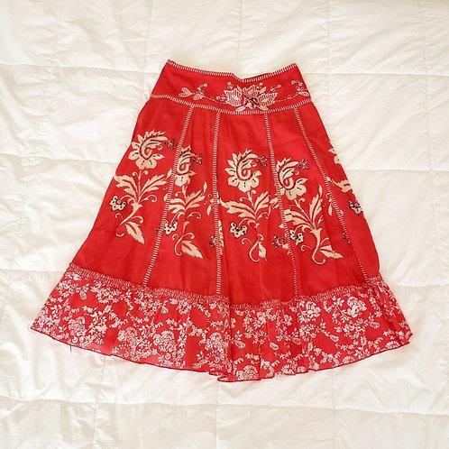 jupe boho rouge beige blanc small 6 ans midi