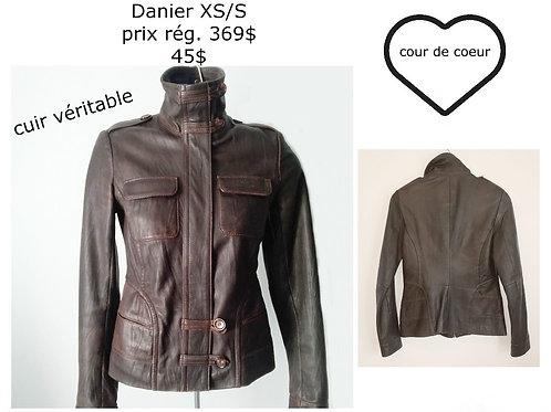 veston manteaux cuir brun DanierXS
