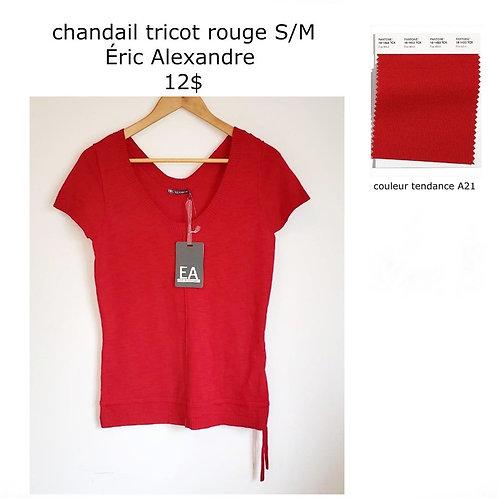 chandail t-shirt rouge tricot Éric Alexandre Small médium