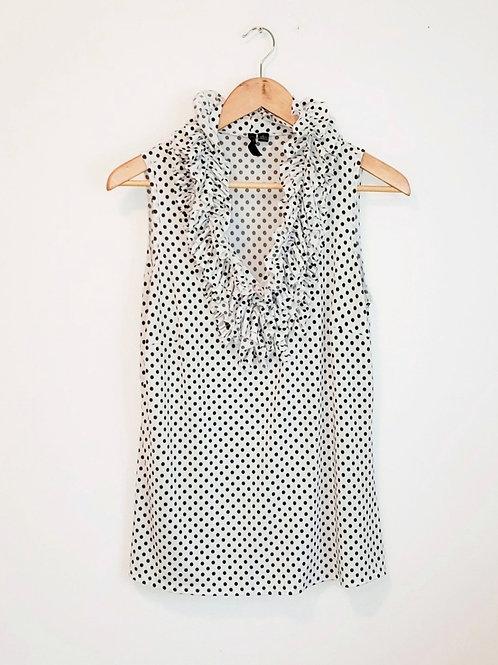 blouse sans manches noire et blanche à pois large Essentials by Milano