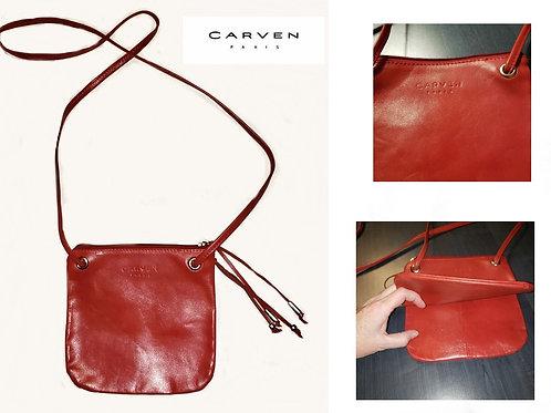 sac sacoche rouge cuir Carven Paris