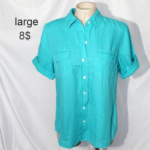 chemise manches courtes turquoise large
