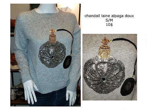 chandail laine Alpaga gris avec paillettes small médium