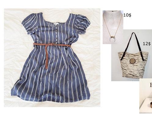 robe rayée bleu et blanc large 10 ans My Style
