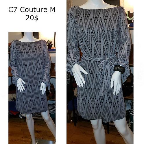 Robe grise noire C7 Couture médium