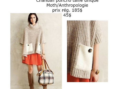 Chandail poncho beige Anthropologie taille unique