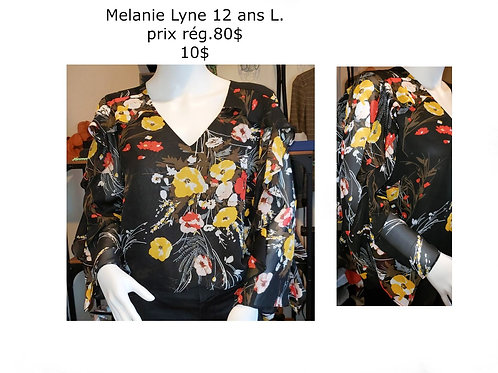 blouse noire fleurie Melanie Lyne 12 ans Large