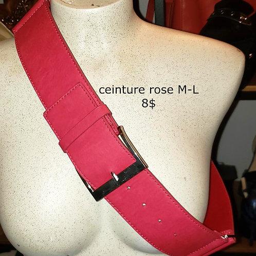 ceinture rose faux cuir médium large