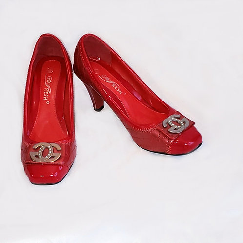 souliers rouge Go Fresh 8 cuir verni et logo
