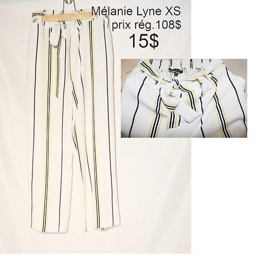 pantalon rayé blanc, bleu et jaune xs Mélanie Lyne