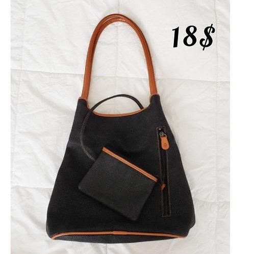 sac noir et cognac avec portefeuille