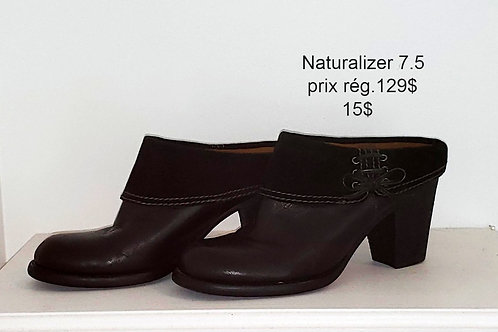 mules cuir noir Naturalizer 7.5