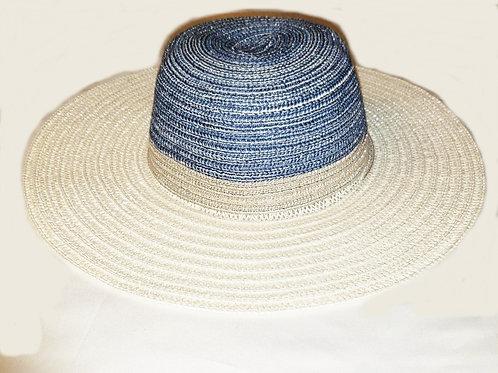 chapeau été paille blanc bleu et beige