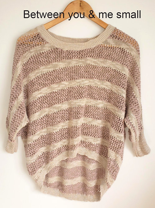 chandail rose et beige small knit pink sweater top