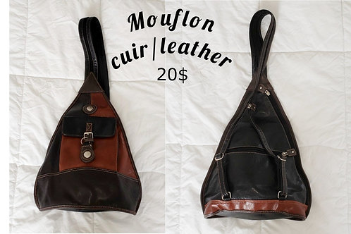 sac à dos cuir noir et cognac Mouflon