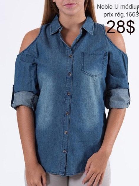 chemise denim médium Noble U bleu