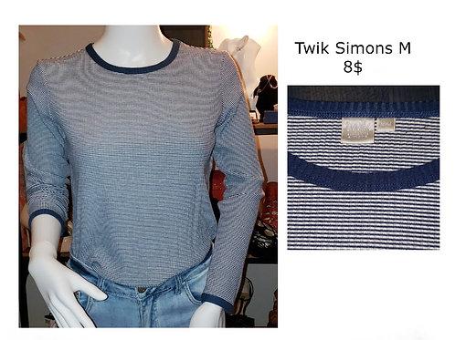 t-shirt chandail manches longues bleu médium