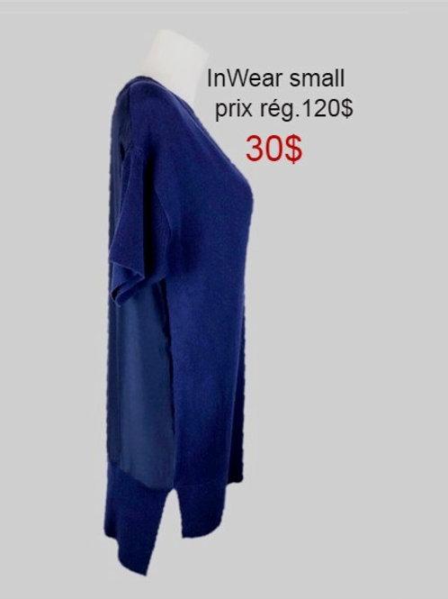 chandail tunique bleu small InWear