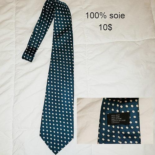 cravate soie vert à pois
