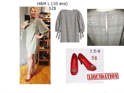 robe à carreaux grise H&M large dress size 12