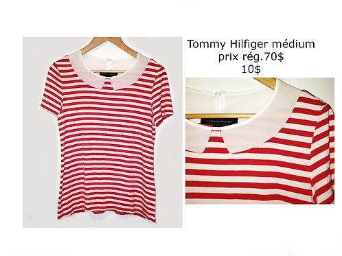 t-shirt Tommy Hilfiger rayé rouge blanc médium