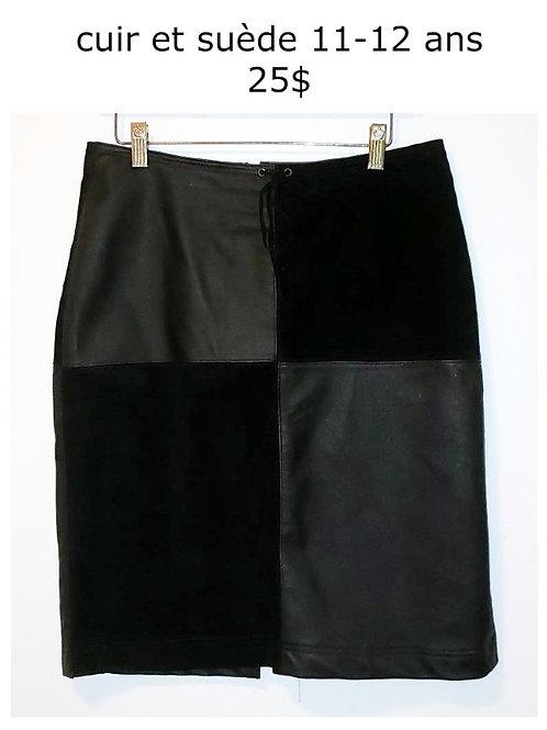 jupe cuir suède noire 11 ans large