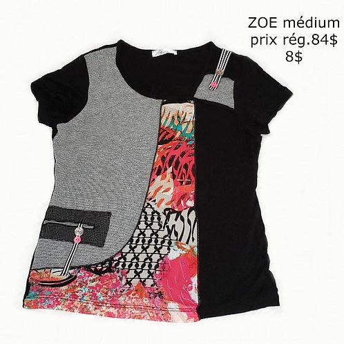 t-shirt noir et motifs ZOE médium