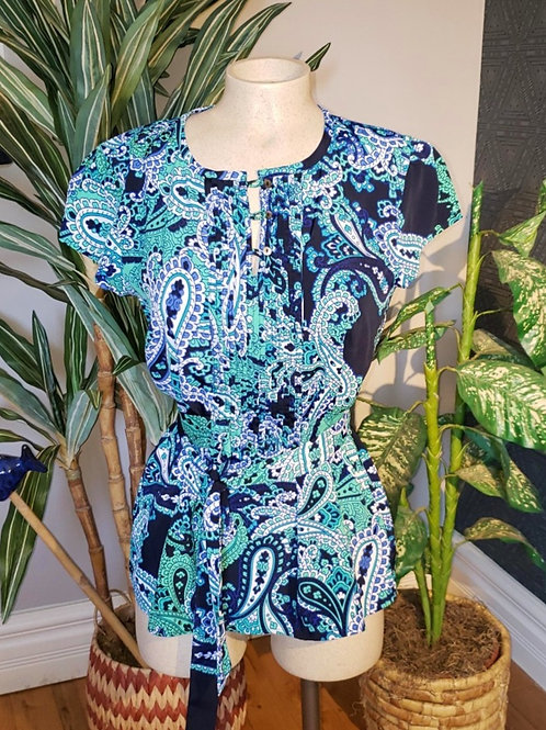 blouse Tommy Hilfiger paisley bleu vert blanc small