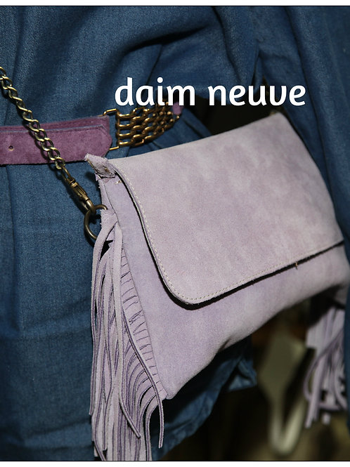 sac pochette en daim lilas leather bag