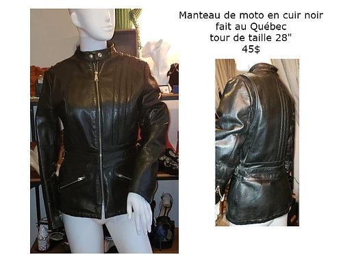 """manteau de moto noir cuir taille 28"""""""