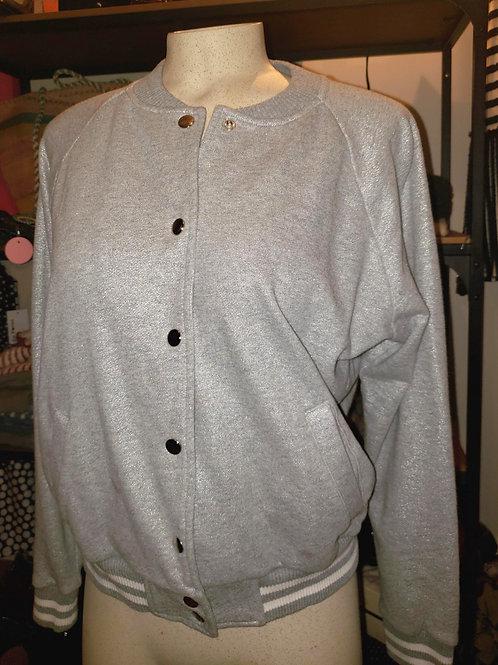 veste grise H&M grey bomber jacket xl 12 -14
