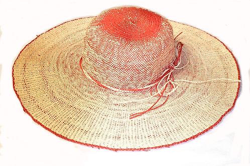 chapeau large paille beige orange