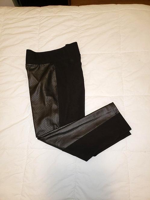 pantalons leggings noir avec faux cuir large