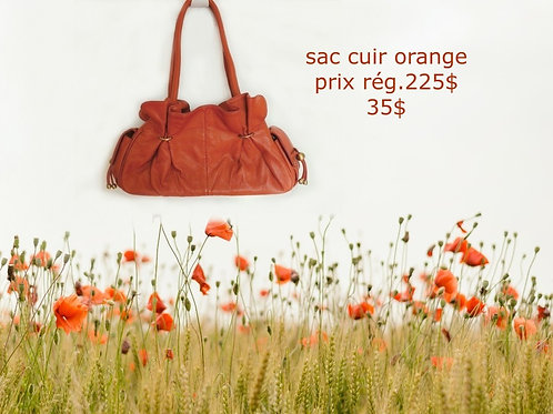 sac cuir orange mat