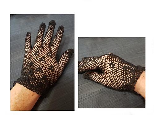 gants vintage crochet noir XS- M