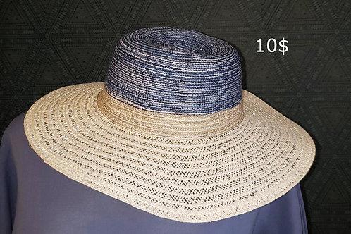 chapeau paille blanc beige bleu
