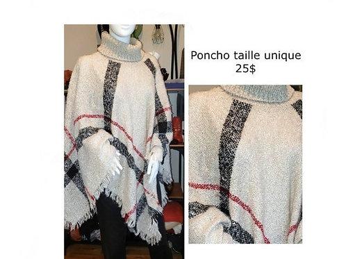 poncho beige rouge noir col roulé taille unique