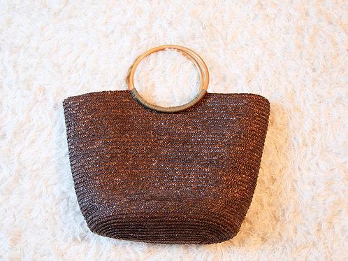 gros sac paille brun poignée ronde