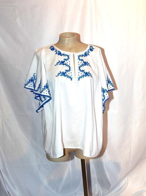 Top blouse J Crew xlarge XL blanc bleu broderie