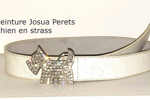 ceinture blanche Joshua Perrets white strass belt small