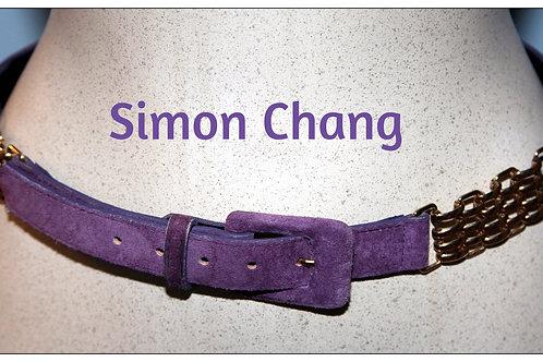 ceinture suède mauve et mailles or small