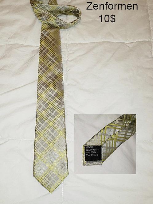 cravate soie argent jaune Zenformen