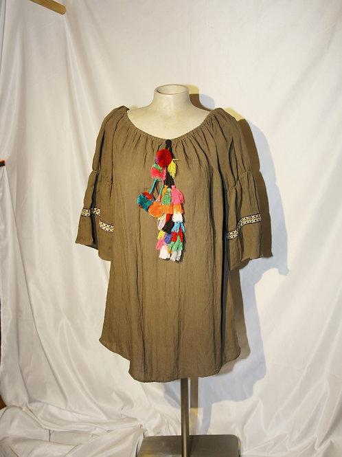 blouse tunique vert olive large neuve