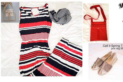 M.I.K.O. robe maxi medium rouge, blanc, bleu
